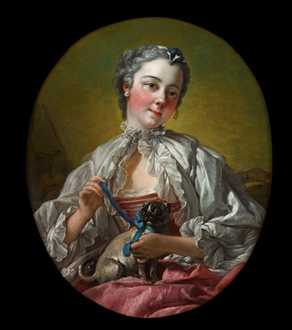 François Boucher - A Young Lady Holding a Pug Dog