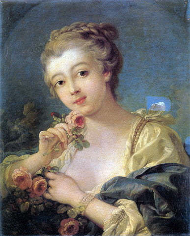François Boucher - Young Woman with a Bouquet of Roses