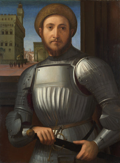 Francesco Granacci - Portrait of a man in armour