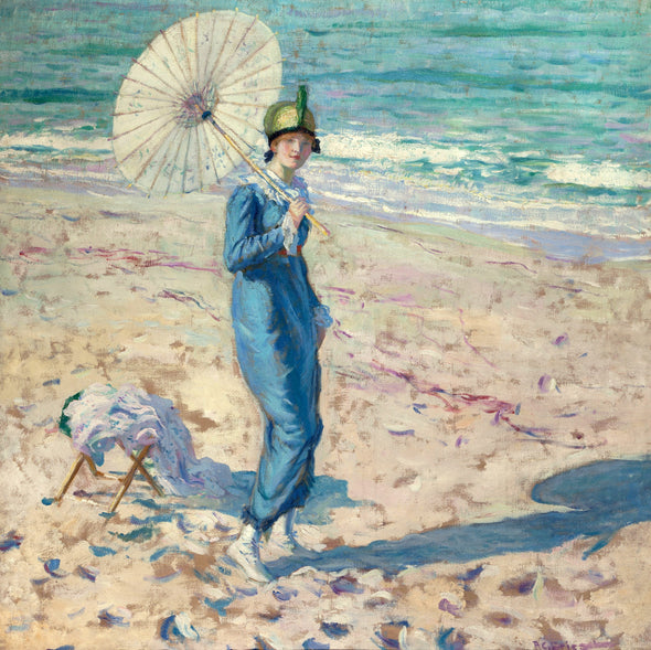 Frederick Carl Frieseke - On the Beach (Girl in Blue)
