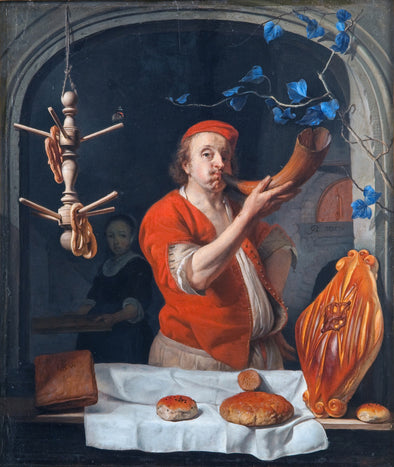 Gabriël Metsu - A Baker Blowing His Horn