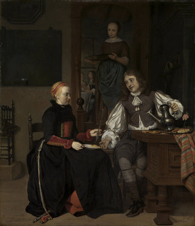 Gabriël Metsu - Young Couple at Breakfast