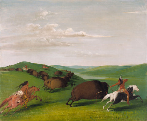 George Catlin - Catlin Buffalo Chase with Bows and Lances