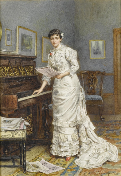 George Goodwin Kilburne - A Young Woman at a Piano