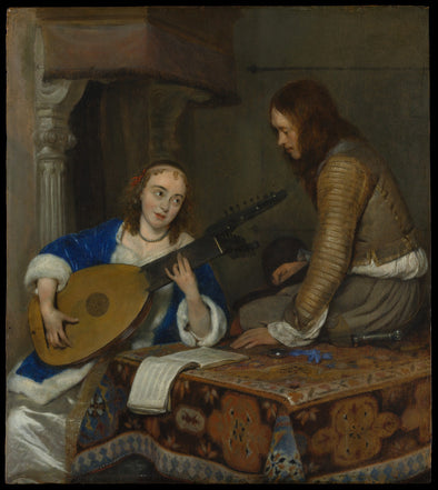 Gerard ter Borch - A Woman Playing the Theorbo-Lute and a Cavalier