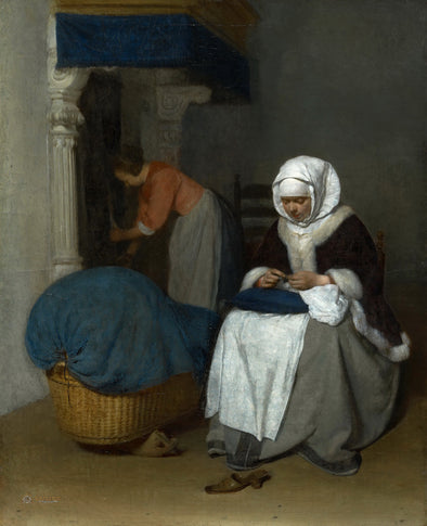 Gerard ter Borch - Woman Sewing Beside a Cradle