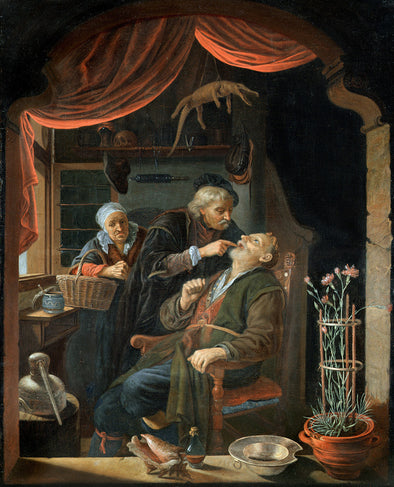 Gerrit Dou - A Dentist Examining he Tooth of an Old Man