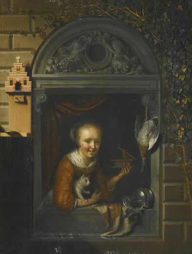 Gerrit Dou - A Young Girl at a Window Ledge