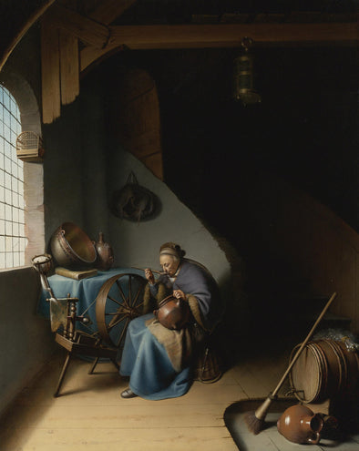 Gerrit Dou - An Elderly Woman, Seated by a Window at her Spinning Wheel