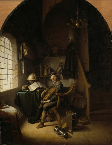 Gerrit Dou - An Interior with a Young Viola Player