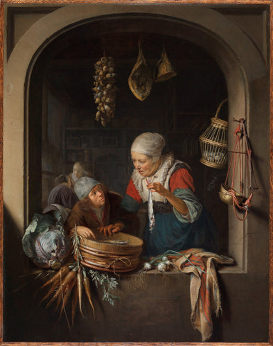 Gerrit Dou - An Old Woman and a Boy With Herring