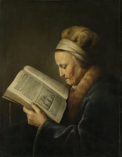 Gerrit Dou - Portrait of an Old Woman Reading