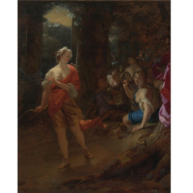 Godfried Schalcken - Diana and her Nymphs in a Clearing