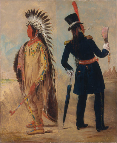 George Catlin - Wi jún jon, Pigeon's Egg Head (The Light) Going to and Returning from Washington