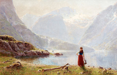 Hans Dahl - A young girl by a fjord