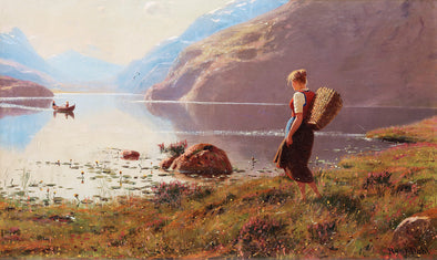 Hans Dahl - Fjord Landscape with Walking Girl