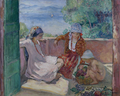 Henri Lebasque - Young Women and Child on the Terrace at Saint Maxime (Children of Lebasque)