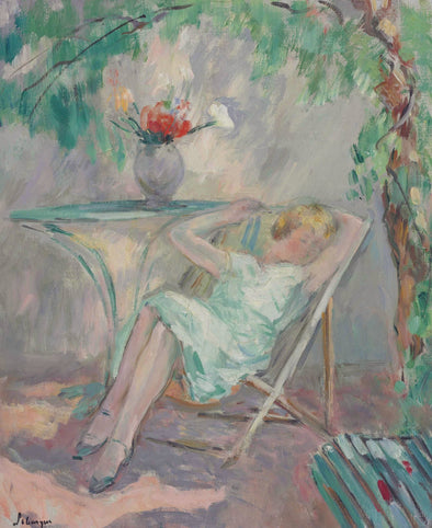 Henri Lebasque - young woman seated in the garden