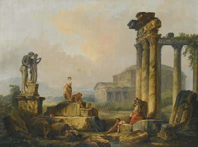 Hubert Robert - A Landscape with Shepherds and Shepherdesses Among Ancient Ruins