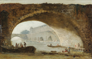 Hubert Robert - Visionary View of the Louvre Through the Arch of a Bridge
