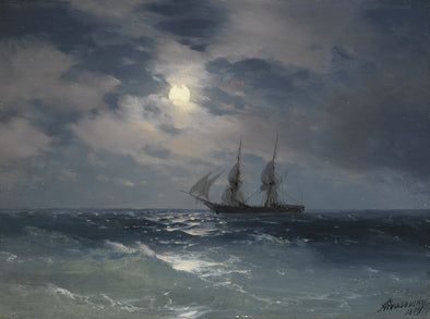 Ivan Konstantinovich Aivazovsky - The Brig Mercury in Moonlight