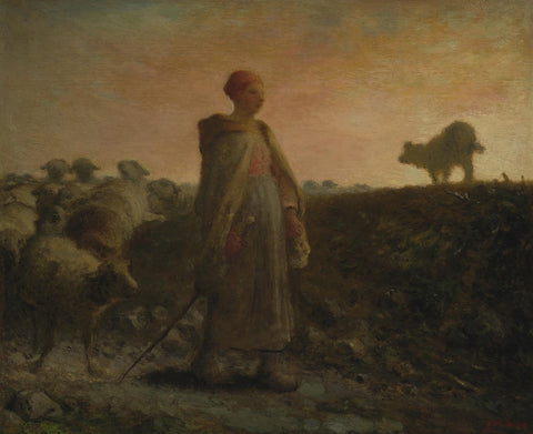 Jean-François Millet - Shepherdess Returning with her Flock