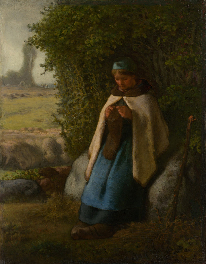 Jean-François Millet - Shepherdess Seated on a Rock
