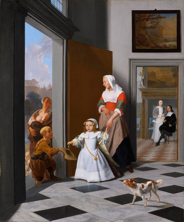Jacob Ochtervelt - A Nurse and a Child in the Foyer of an elegant Townhouse