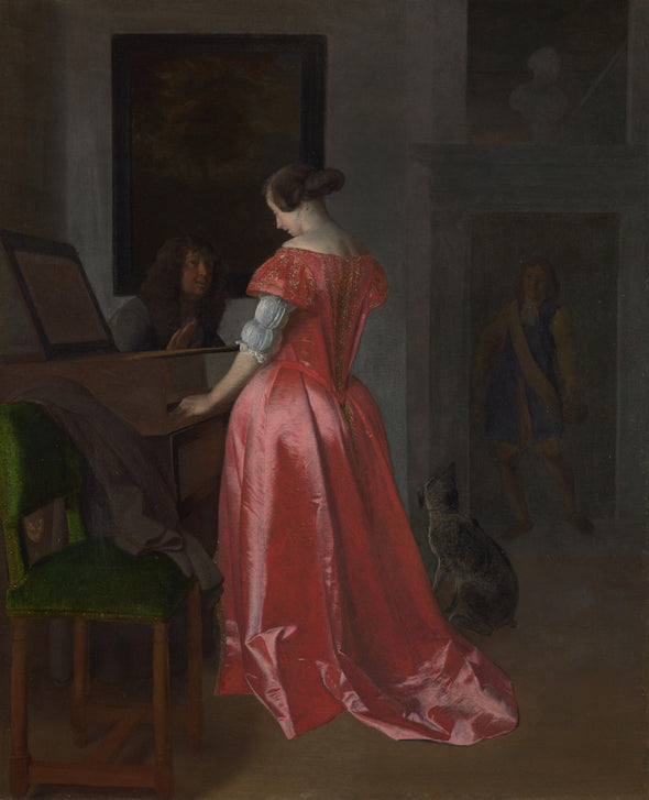 Jacob Ochtervelt - A Woman standing at a Harpsichord, a Man seated
