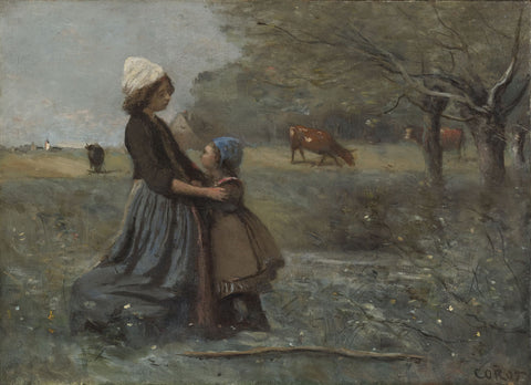 Jean-Baptiste-Camille Corot - The Sisters in the Meadow