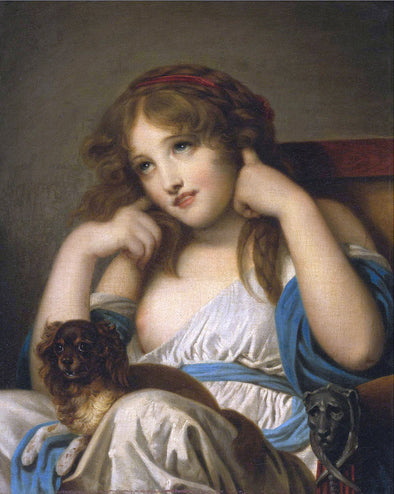 Jean Baptiste Greuze - A Young Girl With A Dog on her Lap