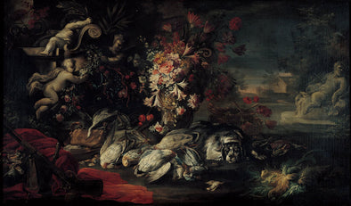 Jean-Baptiste Oudry - Death nature with shooting gear and flowers II