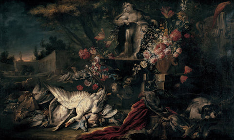 Jean-Baptiste Oudry - Death nature with shooting gear and flowers I