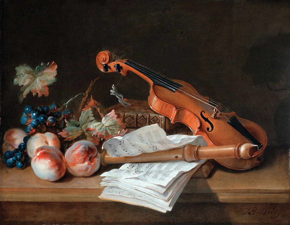 Jean-Baptiste Oudry - Still Life with a Violin, a Recorder, Books, a Portfolio of Sheet of Music, Peaches and Grapes on a Table Top