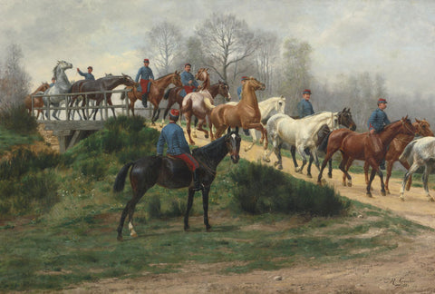 Jean Richard Goubie - Soldiers Leading Horses over a Bridge