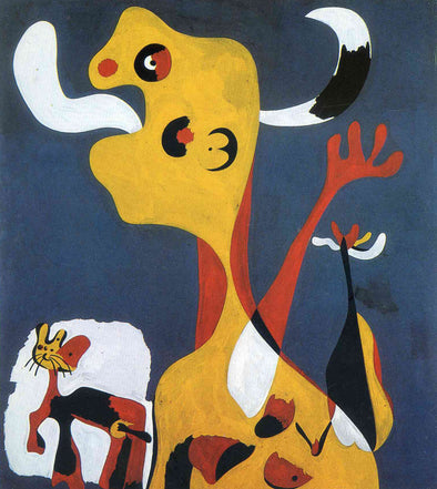 Joan Miró - Woman and Dog in front of the Moon