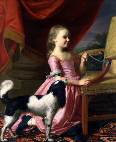 John Singleton Copley - Young Lady with a Bird and a Dog