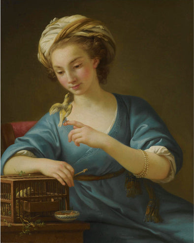 Joseph-Marie Vien - A Young Woman Dressed a la Grecque Holding a Canary on her Outstretched Finger