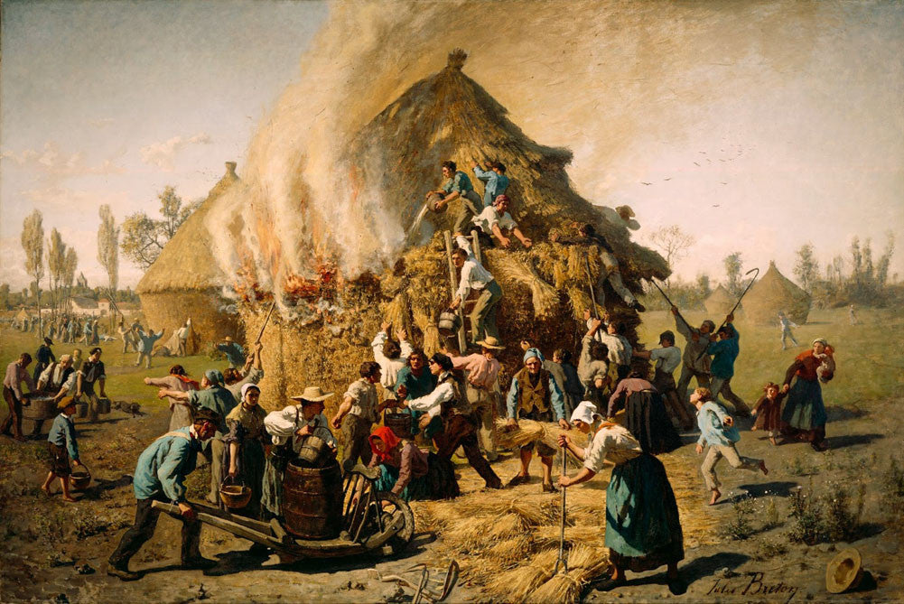 Jules Breton - Fire in the Haystack