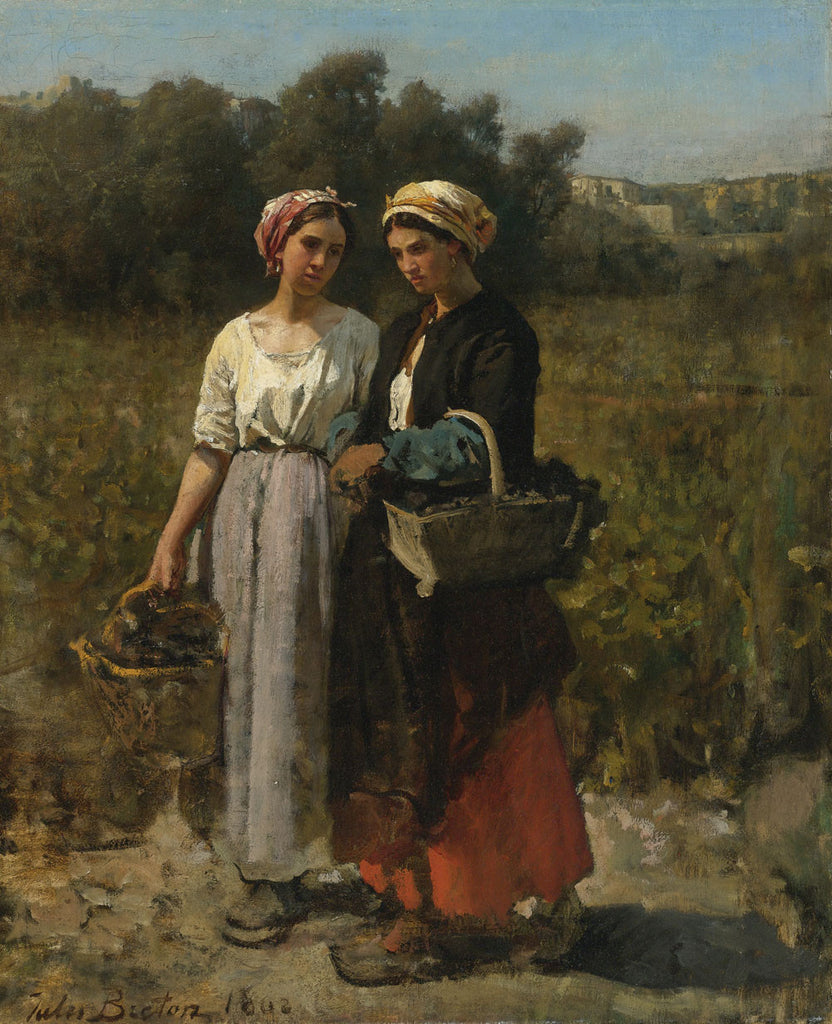 Jules Breton - Two Young Woman Picking Grapes
