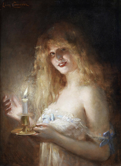 Leon Francois Comerre - A Young Lady Lit by Candlelight