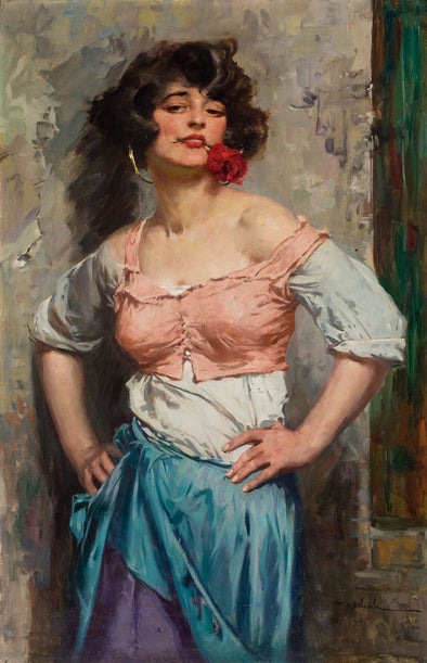 Leopoldo Schmutzler - Woman with Rose