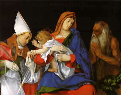 Lorenzo Lotto - Madonna with St. Bishop and St. Onuphrius