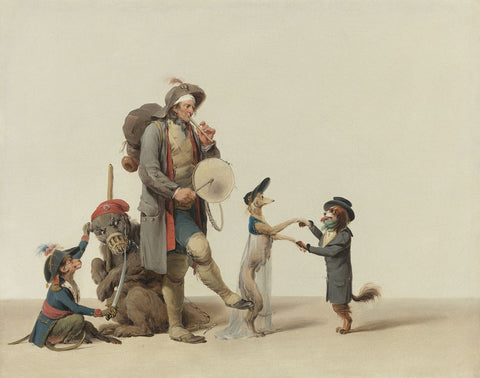 Louis-Leopold Boilly - An Animal Trainer with Dancing Dogs, a Bear and Monkey
