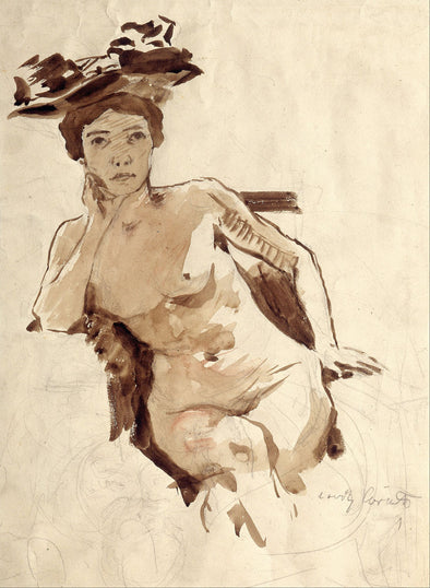 Lovis Corinth - Female Semi Nude with Hat