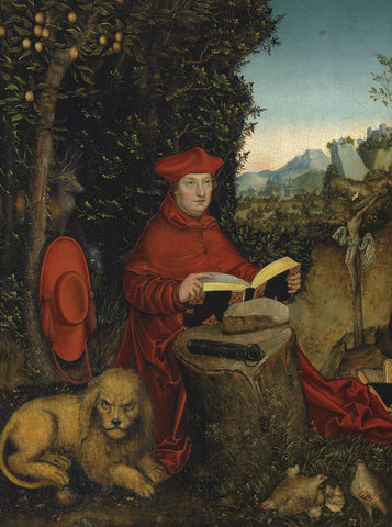 Lucas Cranach the Elder - Cardinal Albrecht von Brandenburg as Saint Jerome in a landscape
