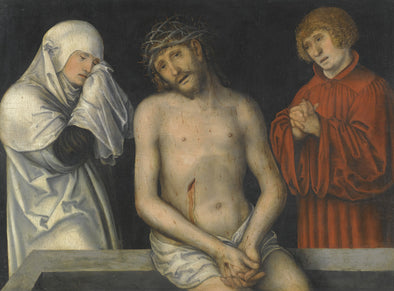 Lucas Cranach the Younger - Christ as Man of Sorrows together with the Virgin and Saint John