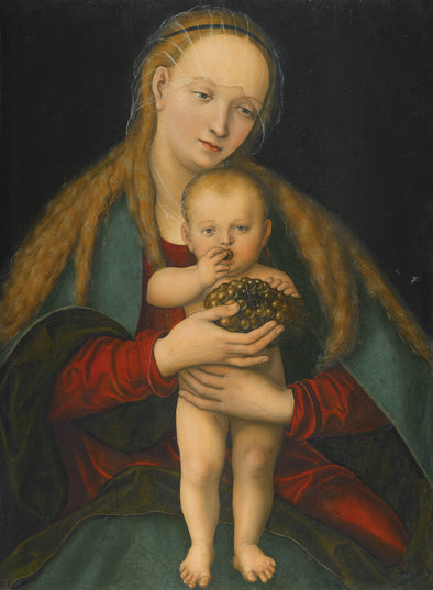 Lucas Cranach the Younger - Virgin and Child with a Bunch of Grapes