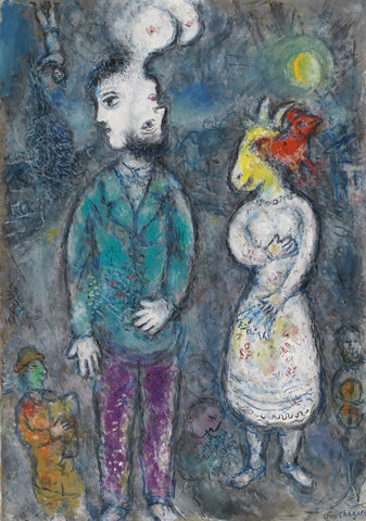 Marc Chagall - Couple Au Double Profil
