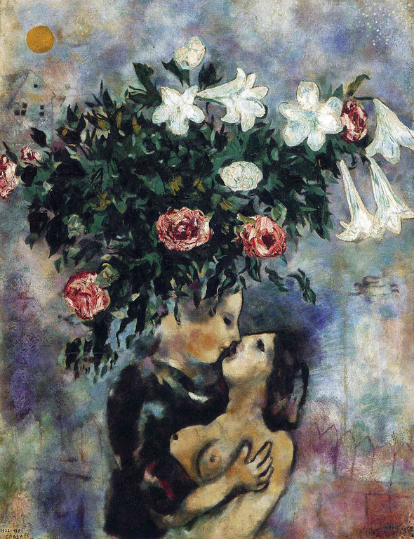 Marc Chagall - Lovers Under Lilies